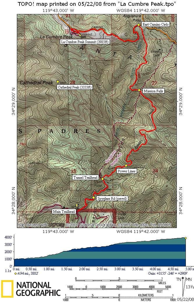 La Cumbre Peak Route Map