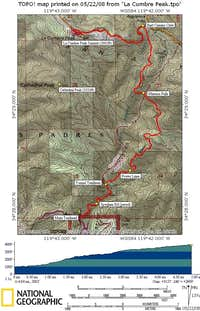 La Cumbre Peak Route Map