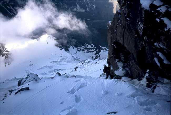 Descending from the summit of Grand Combin de Valsorey.