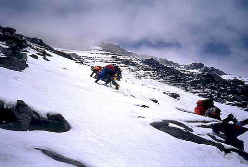 Descending from the summit of Grand Combin de Valsorey.
