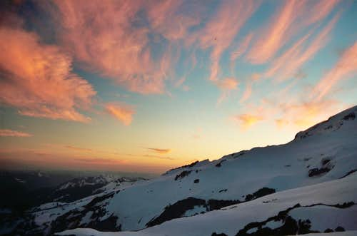 sunset on the snowfield