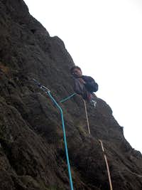 Tom leading the 2nd pitch of Avalanche/Red Wall/ Longlands Continuation