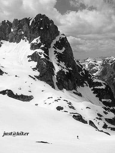 Hiker in a heart of Prokletije mountain