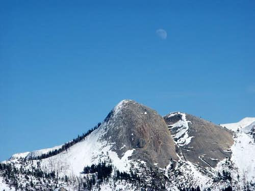 Half-moon over Mt. Starr King...