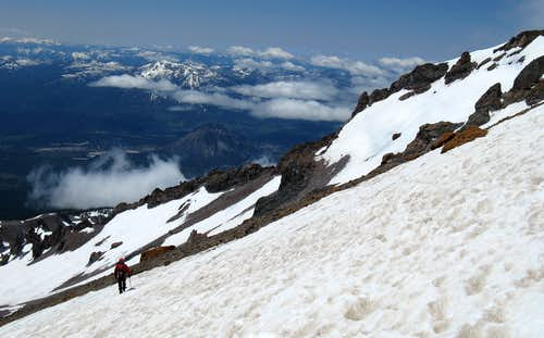 Descending Avy Gulch on Shasta