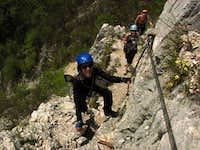 Close to the top of Via Ferrata Sussati (Italy)