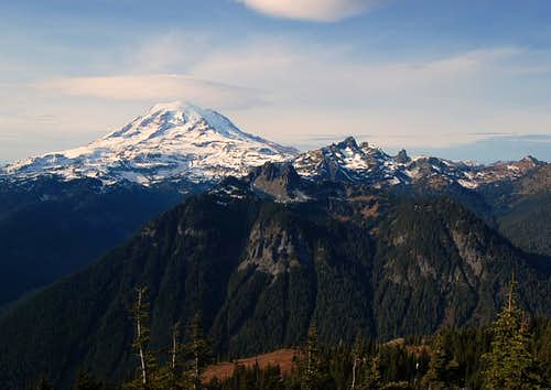Mt. Rainier, Double Peak, Cowlitz Chimneys from Shriner Peak
