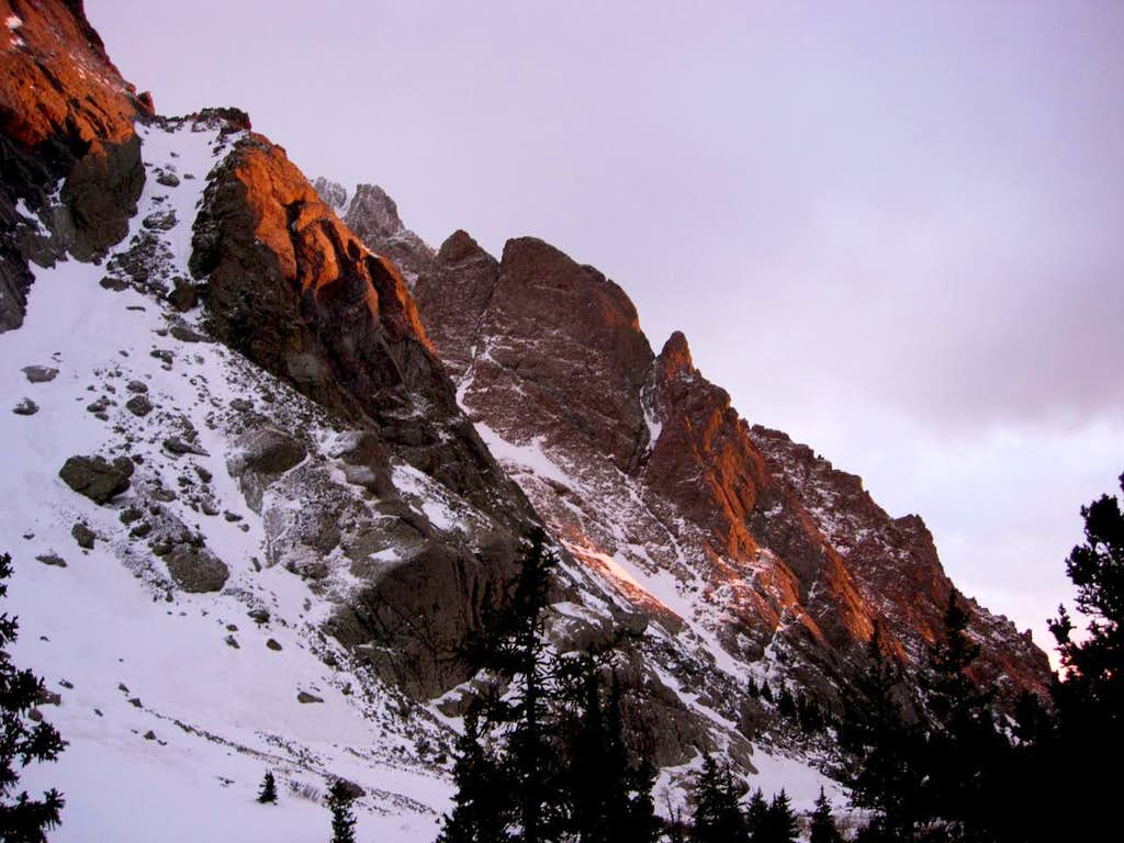 Cliffs aglow at dusk