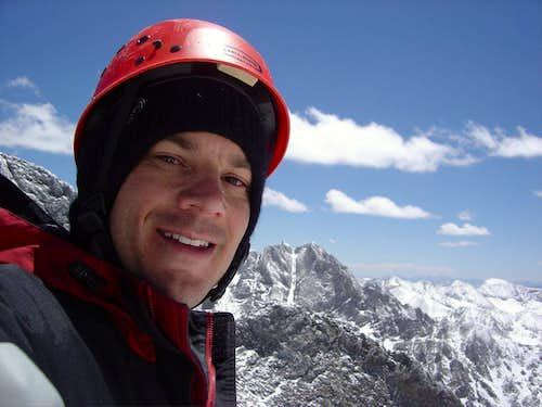 Self-portrait, Crestone Peak from Challenger Point