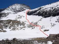 Our descent line down Kirk Couloir