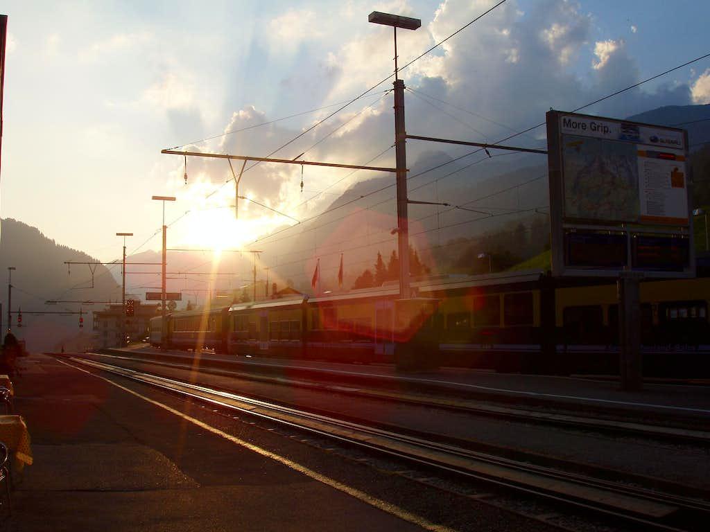 Grindelwald station sunset
