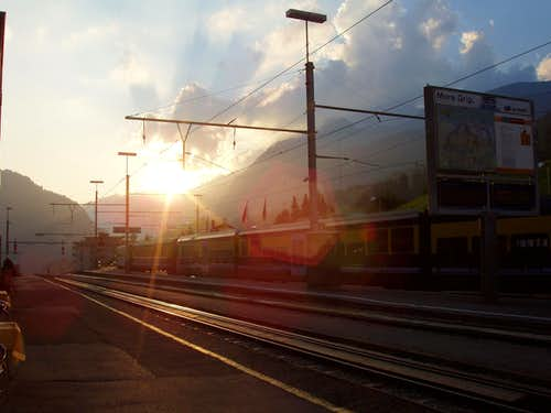 Grindelwald station sunset