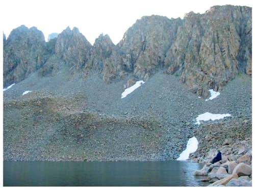 Nokhu Crags from Snow Lake -...