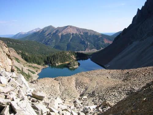 The view down on Lake Agnes...