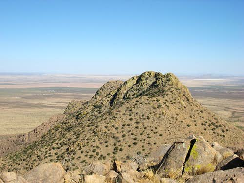 South Peak (el. 5,630) and Middle Peak (el. 5,786 ft.) Tres Hermanas