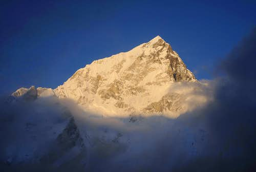 Nuptse in evening alpenglow from Gorak Shep