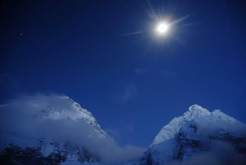 Nuptse in moonlight from Everest Base Camp