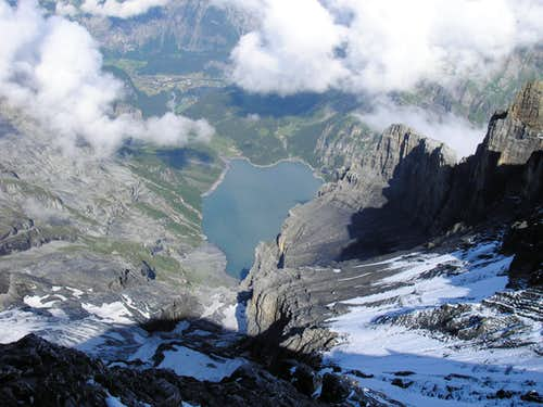 Oeschinen lake from Blüemlisalphorn 3661m