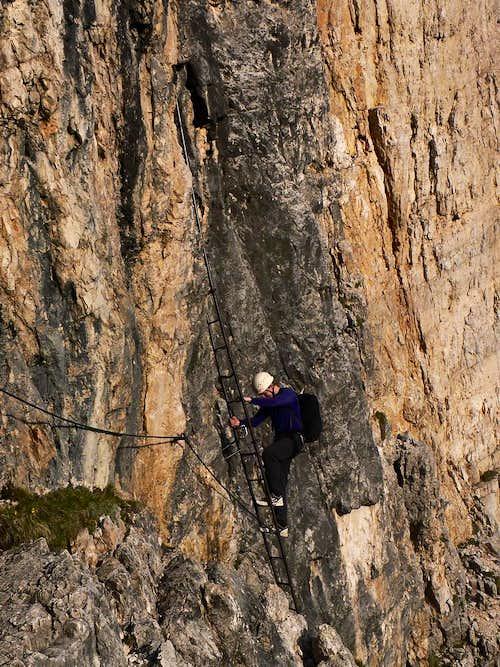 Descending the Strobel Via Ferrata