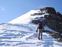 Climbing the last section to the false summit of North Timpanogos