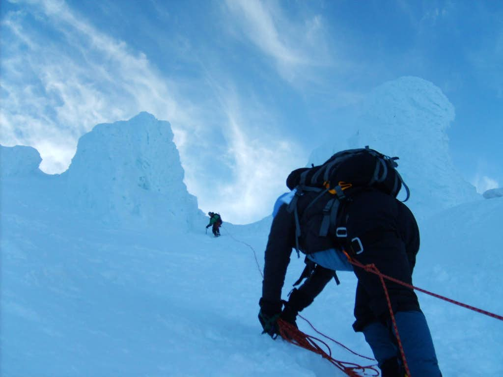 Belaying Down the Icy Chute