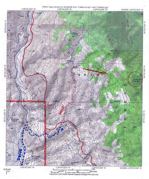Topo Map with route