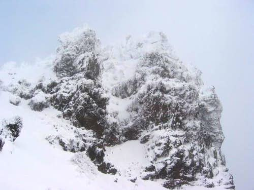 Snow and ice covered summit...