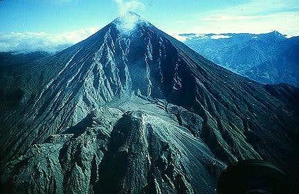 Santa María volcano with the...