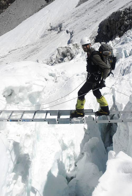 Khumbu Icefall ladder crossing
