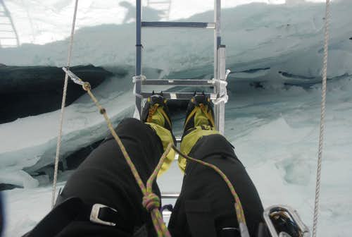 Khumbu Icefall standing over a crevasse