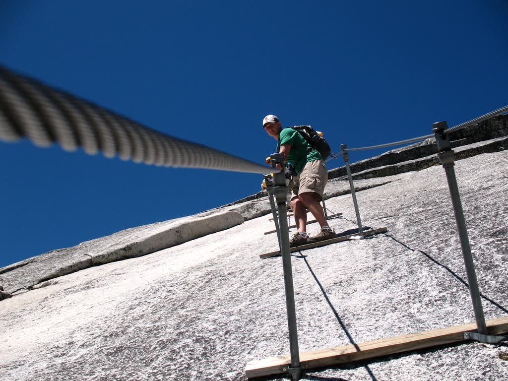 Working the cables on Half Dome