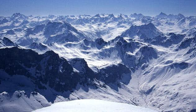 Silvretta winter panorama from Sulzfluh