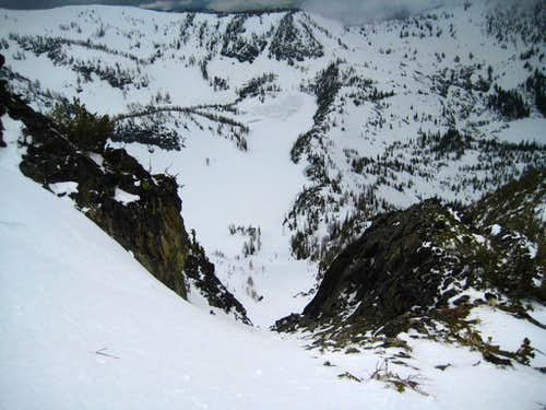 Looking down the couloir