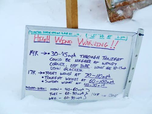 weather board at 14k' camp