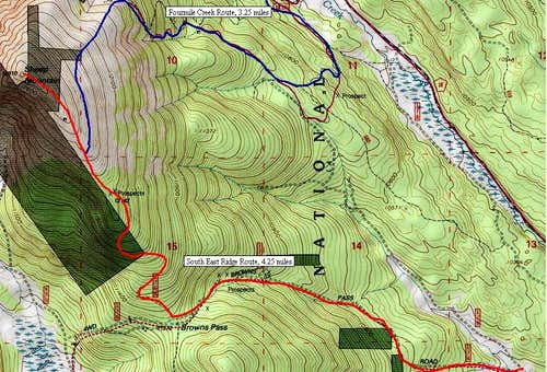 Sheep Mountain F: Map of showing both key routes