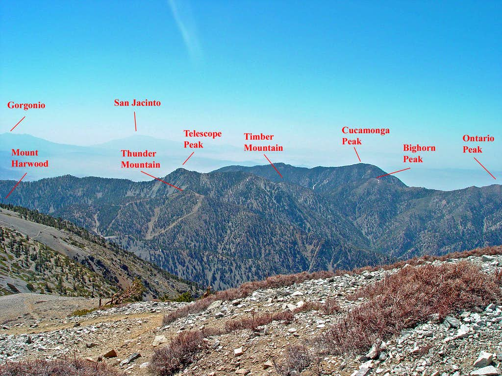 View East from Mount Baldy with Peaks Identification