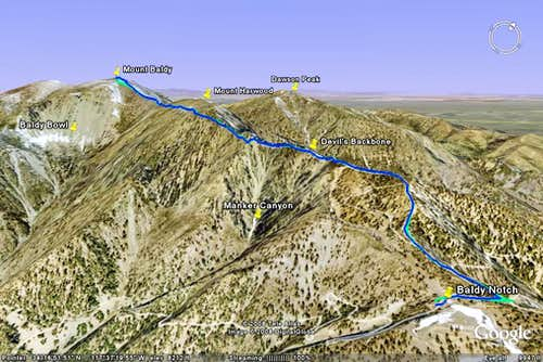 Google Earth rendition of my track up Mount Baldy from Baldy Notch