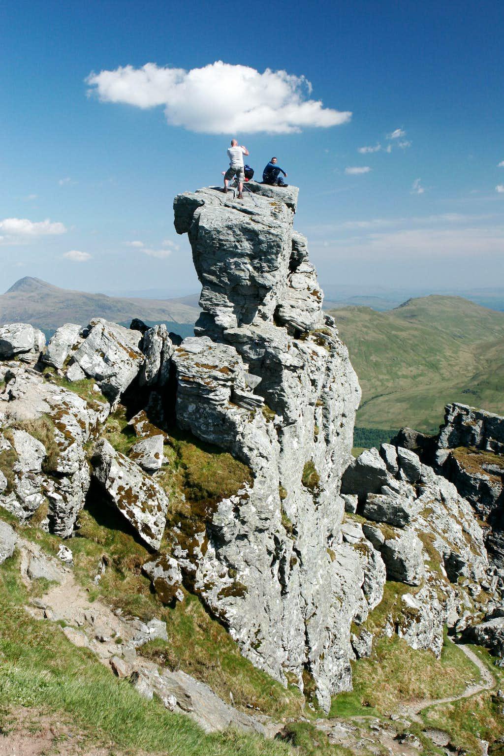 On the summit rock