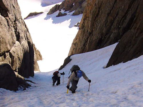 Approaching the Turn in the Snake Couloir