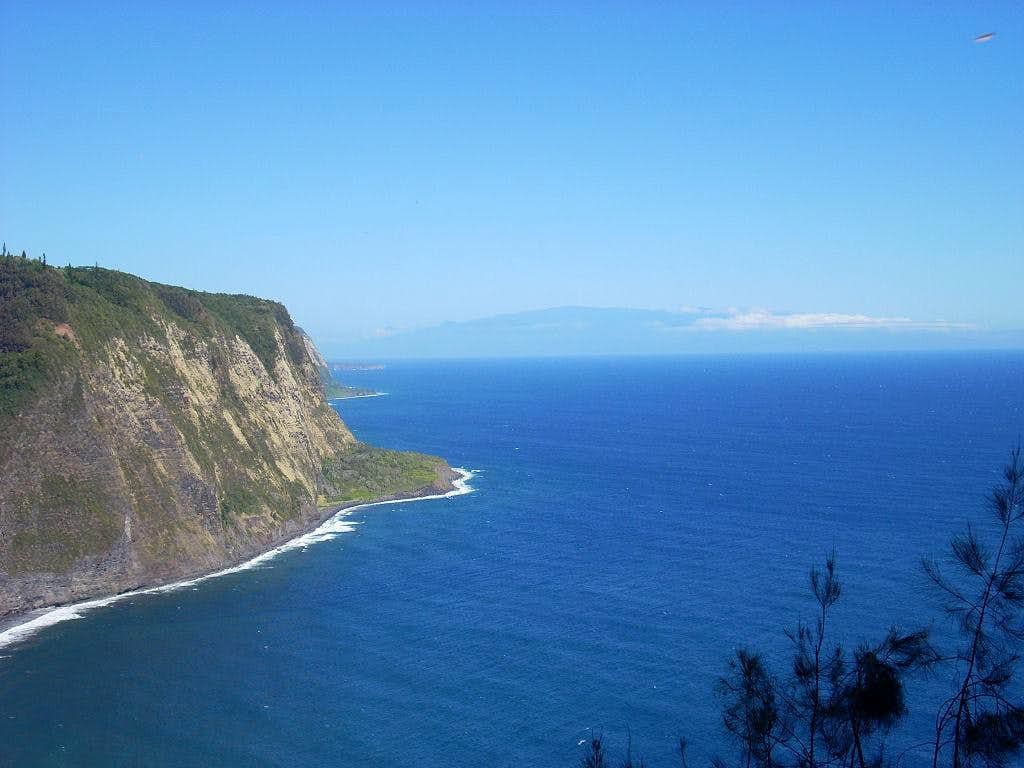 The sea cliffs on the north side of the mountain range.