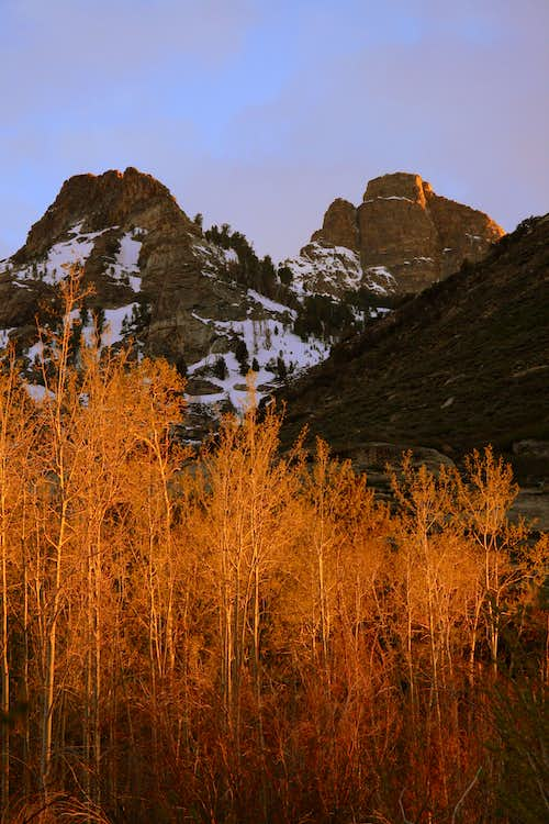 Sunset in Lamoille Canyon from campground