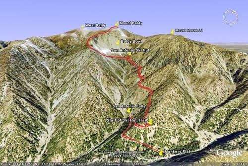Baldy Bowl Trail - Google Earth Rendition