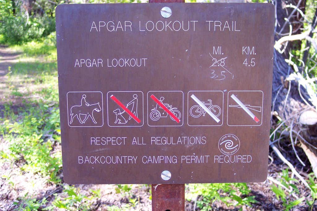 Apgar Lookout Trailhead Sign