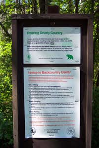 Grizzly Warning Sign at Apgar Trailhead