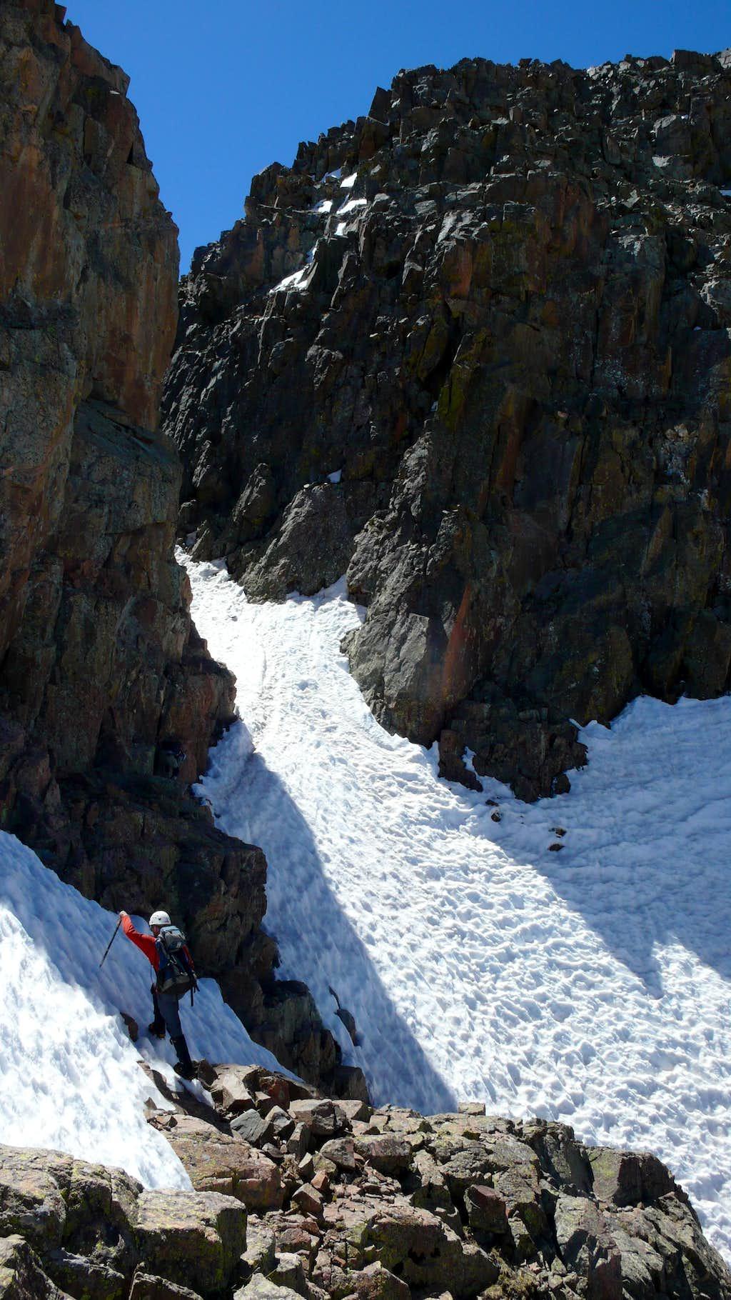 Tricky notch on Twilight's North Ridge
