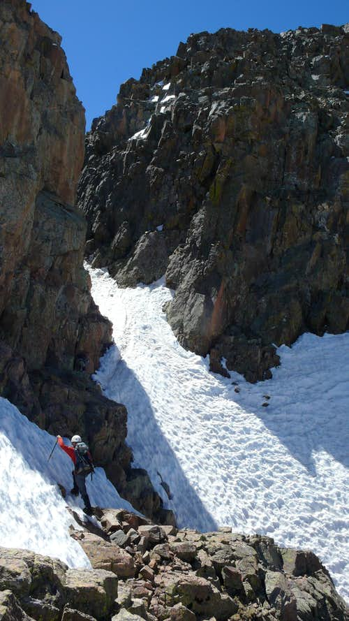 Tricky notch on Twilight\'s North Ridge