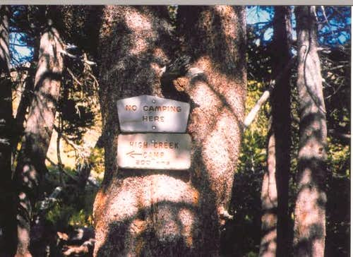 High Creek Camp sign around...