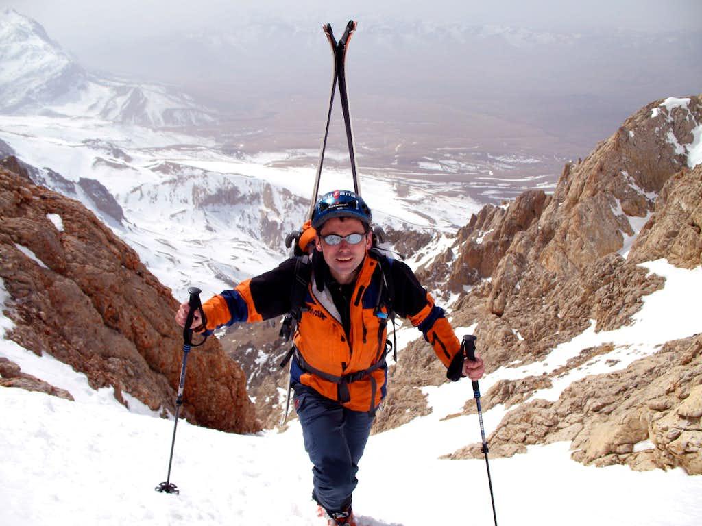 Skiing Hodgkin-Peck Couloir