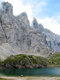 Summit of Monte Civetta (3220m) seen from Lago Coldai