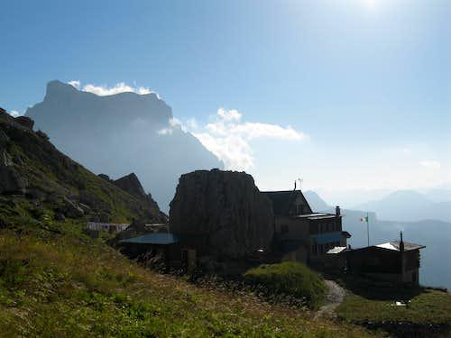 Monte Pelmo seen from Rifugio Coldai near Monte Civetta
